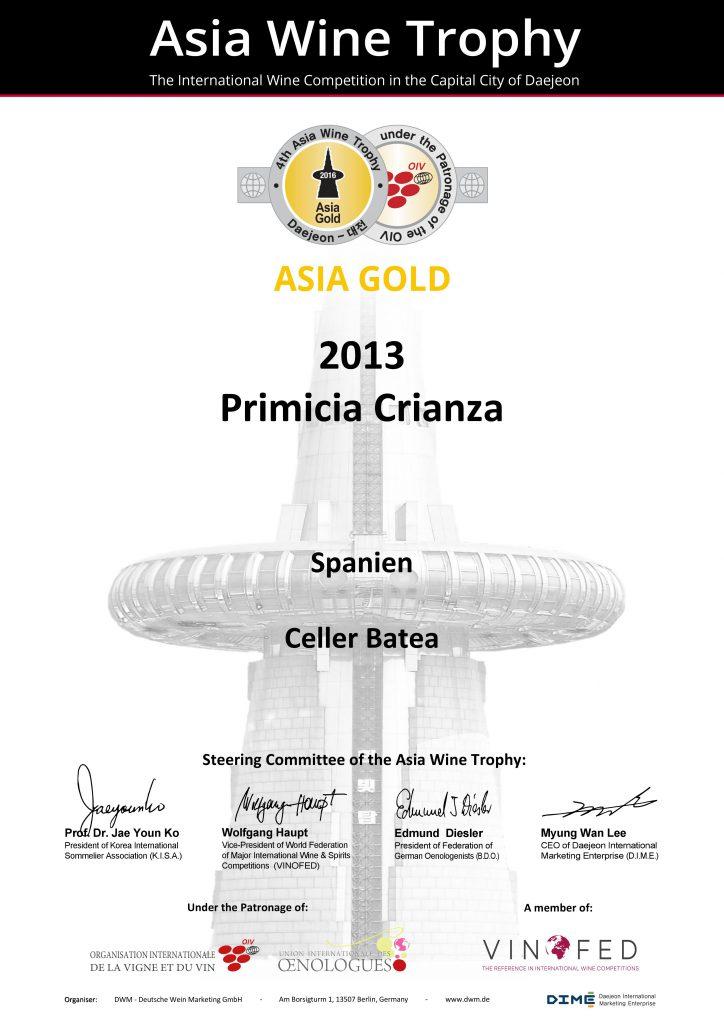 Primicia Crianza 2013